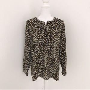 TALBOTS Leopard Print Button Down Long Sleeve Top